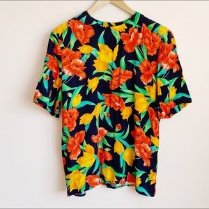 vintage back button short sleeve printed blouse